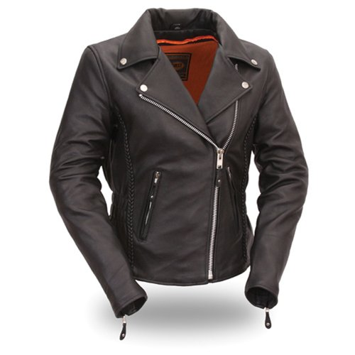 First Manufacturing Women's Hourglass Motorcycle Jacket (Black, Large)