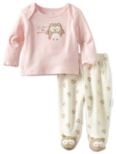 Vitamins Baby Baby-girls Newborn Owl See You 2 Piece Footed Pajama Set, Pink, 9 Months