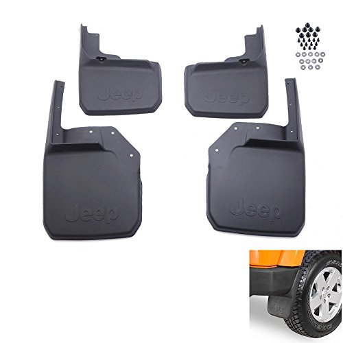 Jeep Logo Front Rear Mud Flaps Molded Splash Guards Black Composite for 2007-2015 Jeep Wrangler(4 pieces) (Mud Flap Jeep Wrangler compare prices)