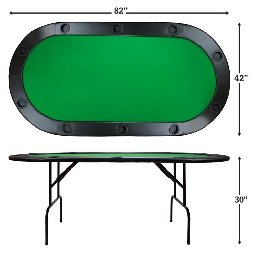 Brybelly poker table with ten cup holders green 82 x 42 for 10 person folding poker table