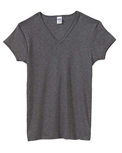 Bella + Canvas Ladies' Baby Rib Short-Sleeve V-Neck T-Shirt-M (Deep Heather)