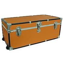 Seward Trunks 6113-28 Footlocker Trunk with Paper Lining and Wheels, Orange, 30-Inch