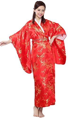 Bigood-Robe-de-Bain-Femme-Imitation-de-Soie-Kimono-Japonais-Long-Fleur-Rouge