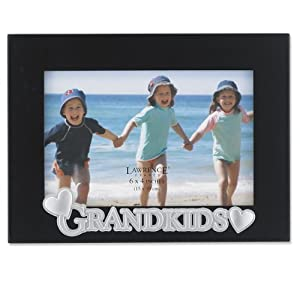Lawrence Frames 4 by 6-Inch Black Wood Grandkids Picture Frame, Silver Sentiments Collection
