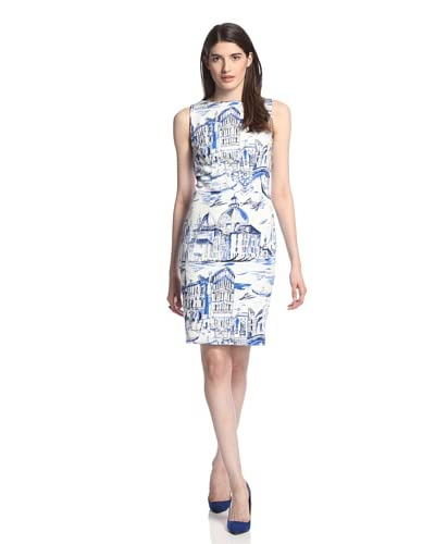 Chetta B Women's Venice Print Dress  [White/Cobalt]