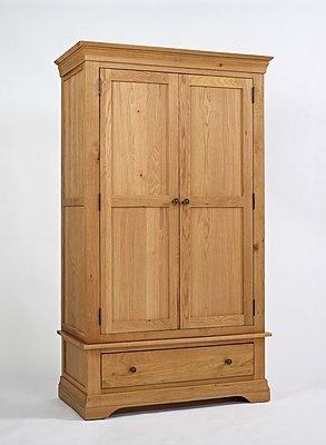Calais Möbel Kleiderschrank 2Türen Eiche massiv mit Schublade günstig