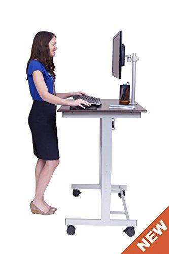 "40"" Mobile Adjustable-Height Stand Up Desk With Monitor Mount (Dark Walnut Shelves / Silver Frame)"