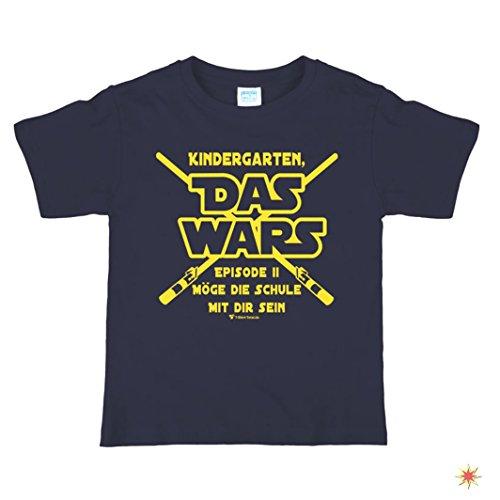 """Schulanfang T-Shirt Gr. 122/128 mit Spruch Kindergarten """"Das wars"""" dunkelblau"""