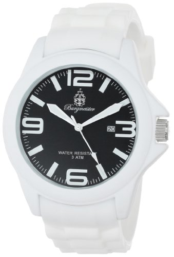 Burgmeister Fun Time Women's Quartz Watch with Black Dial Analogue Display and White Silicone Strap BM166-586