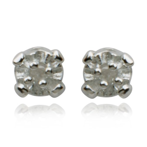 Sterling Silver Genuine Diamond Post Earrings