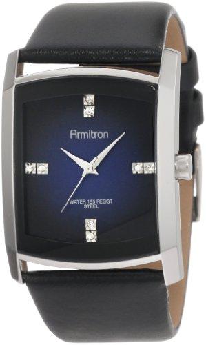armitron-mens-204604dbsvbk-dress-swarovski-crystal-accented-silver-tone-black-leather-strap-watch