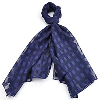 Chiffon Scarves Various Colour with the shapes of square (Navy)