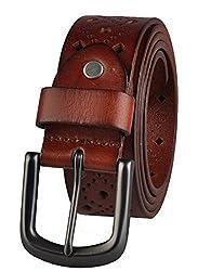 Blueblue Sky Vintage Leather Retro Men's Square Hale Belts#ms1025 (47 in, Brown)