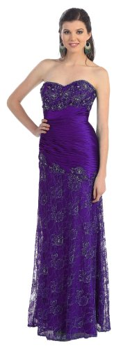 Strapless Formal Prom Dress Jr Long Evening Gown #7031 (16, Purple)