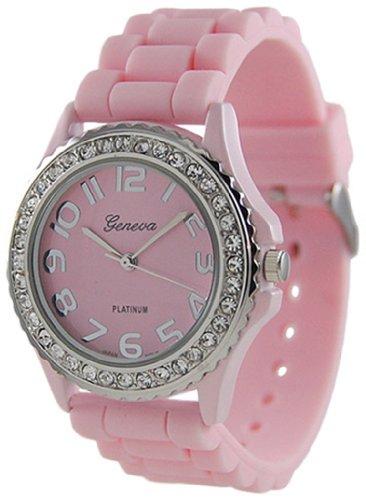 Geneva Platinum CZ Accented Silicon Link Watch, Large Face (Geneva Platinum Women Watches compare prices)