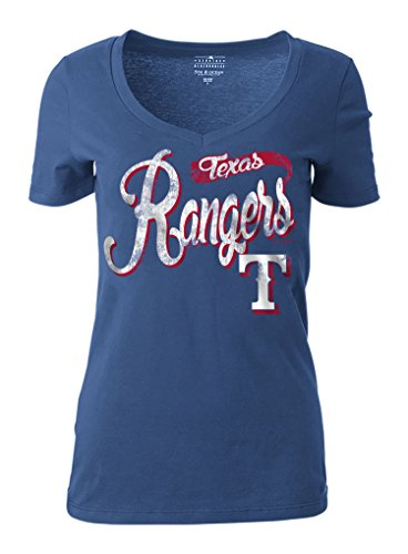 MLB Texas Rangers Women's Short Sleeve Cotton V-Neck Tee, Blue, Large (Texas Rangers Shirts Women compare prices)