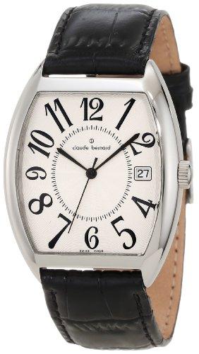 Claude Bernard Men's 70119 3P AB Tonneau White Dial Black Leather Date Watch