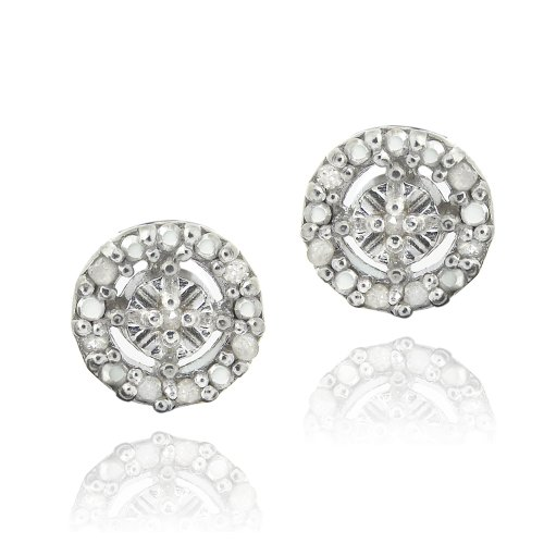 Sterling Silver 1/8ct Diamond Round Stud Earrings