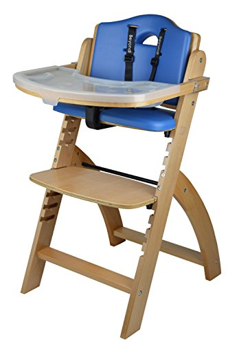 Abiie Beyond Wooden High Chair with Tray.The Perfect Seating Highchair Solution for Your Child As Toddler's or a Dining Chair (6 Months & up) (Natural - Blueberry Blue Cushion)