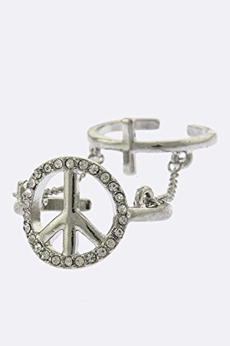 Trendy Fashion Jewelry Crystal Lined Peace Sign Knuckle Ring By Fashion Destination | (Clear/Silver)