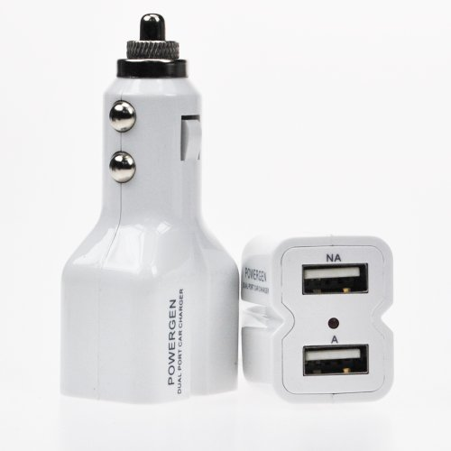 PowerGen 3.1Amps / 15W Dual USB Car charger Designed for Apple and Android Devices – White