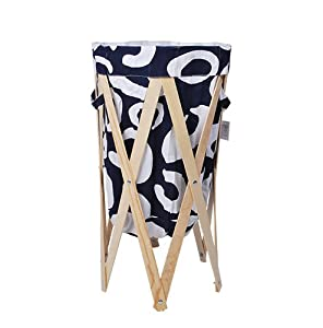 w schesammler leinen holz faltbar blau wei k che haushalt. Black Bedroom Furniture Sets. Home Design Ideas