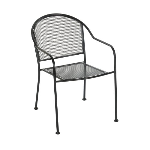 Cheap living accents wrought iron mesh chair best deal for Mesh patio chairs