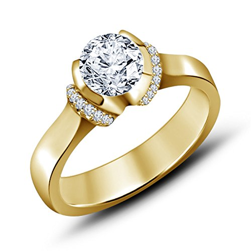 "Vorra Fashion 14K Gold Plated 925 Sterling Silver White CZ Solitaire With Accents Ring in ""US Size\"" 5 6 7 8 9 10 11 12 (multicolor)"