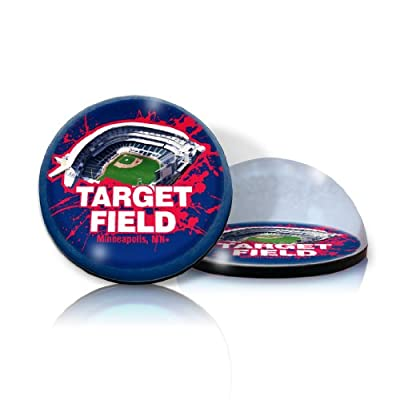 "MLB Minnesota Twins Target Field in 2"" crystal Magnetized paperweight with Colored Window Gift Box"