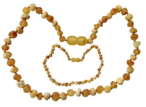 Mommy and Me NATURAL Amber Necklaces (Teething & Nursing) by UMAI - Unpolished MILK and HONEY (Raw) - TESTED and CERTIFIED in the USA!