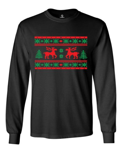 Festive Threads Ugly Christmas Sweater (Moose Design) Long Sleeve Adult T-Shirt (Black, 3X-Large)