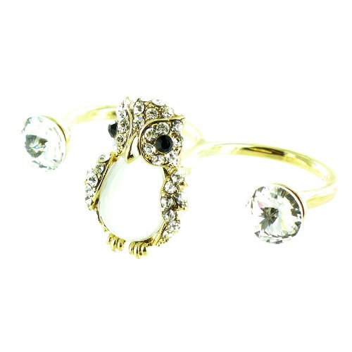 White And Clear Crystal On Gold Plated Open Band Twit Twoo Owl Ring front-611821