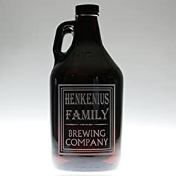 Personalized Engraved Growler with Simple Old School Family Name Brewing Label Design
