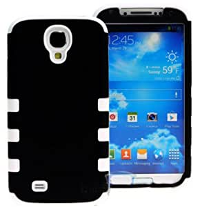 """myLife (TM) Black and White - Matte Design (3 Piece Hybrid) Hard and Soft Case for the Samsung Galaxy S4 """"Fits Models: I9500, I9505, SPH-L720, Galaxy S IV, SGH-I337, SCH-I545, SGH-M919, SCH-R970 and Galaxy S4 LTE-A Touch Phone"""" (Fitted Front and Back Solid Cover Case + Internal Silicone Gel Rubberized Tough Armor Skin)"""