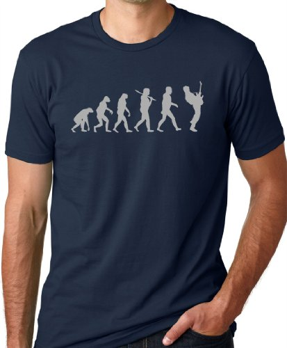 Guitar Player Evolution Funny T-Shirt Navy L