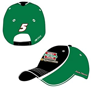 Kevin Harvick 2014 NASCAR #5 Hunt Brothers Pizza Adjustable Hat - Black w Green Mesh by Checkered Flag