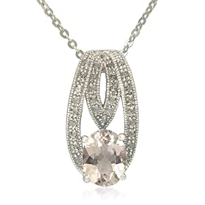 """Sterling Silver Oval Shape Pink Morganite with White Topaz Accents Pendant Necklace, 18"""""""