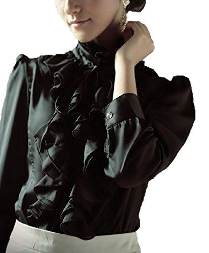 フリル が ゴーズジャス! エレガント リボン 長袖 サテン ブラウス シャツ レディース ファッション 通勤 OL さん に!/ ホワイト ブラック / S M L XL XXL 大きい サイズ あります! (ブラック, L)