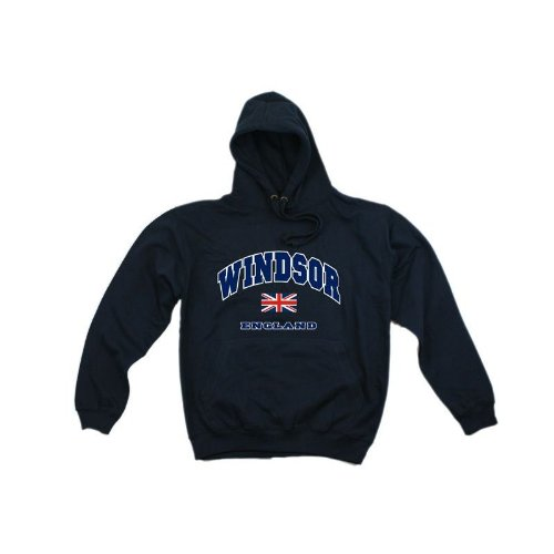 Mens Windsor England Print Hooded Sweatshirt Jumper/Hoodie (XS - 32inch - 34inch) (Navy)