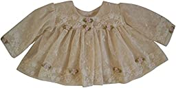 Cream and Ivory Lace with Pink Silk Roses and Pearls CHristening Jacket (Preemie (fits to 7 lbs.))