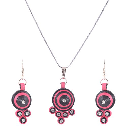Kaagitham pink quilled paper jewelry set for women for Quilling kitchen set