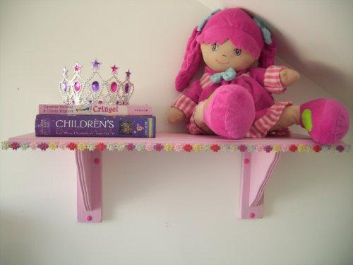 Girls Pink Hippy Chick Flower Trim Bedroom Shelf, Shelves, Storage, Childrens Furniture, Toy storage