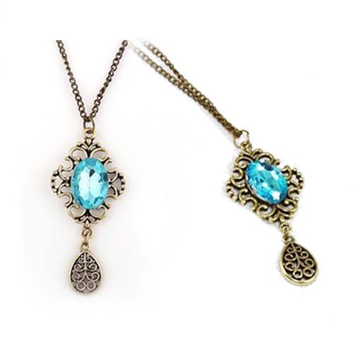 hollow out artificial sapphire water-drop Necklace