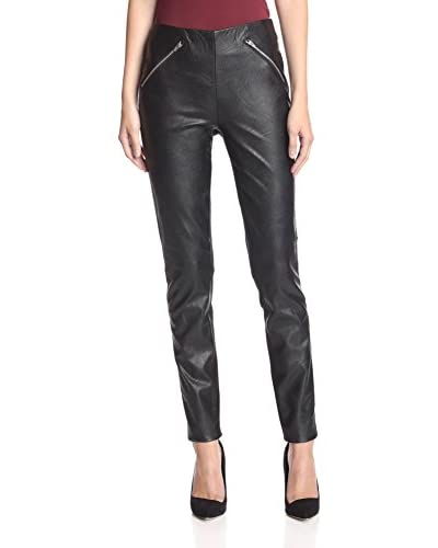 ABS Denim by Allen Schwartz Women's Faux Leather Front Ponte Legging