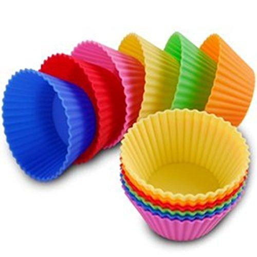 SMO conjunto de 12 moldes para magdalenas de silicona molde para pasteles Cup 6 colores rojo, Amarillo, Verde, Rosa, Naranja, Azul estable y flexible de color