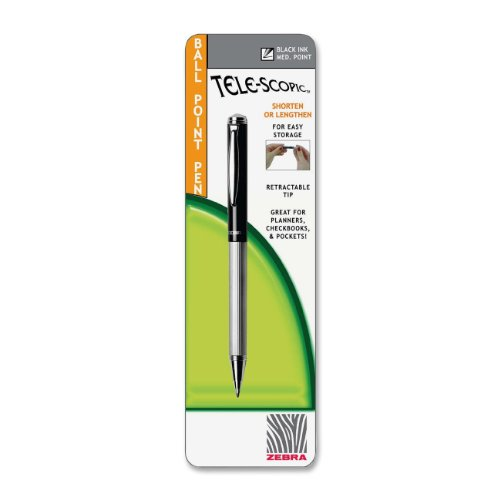 Zebra Tele-Scopic Ball Point Pen, 1.0Mm, Black Ink, Asst Barrel Colors (Zeb24001)