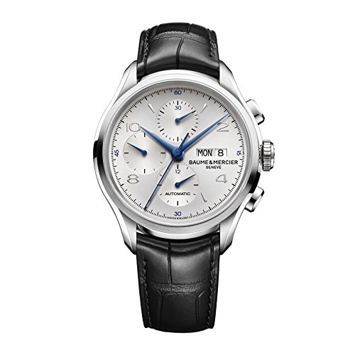 baume-mercier-hommes-clifton-de-montre-automatique-avec-cadran-argente-chronographe-affichage-et-san