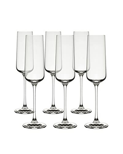 10 Strawberry Street Set of 6 Hong Kong Hip Champagne Flutes, Clear