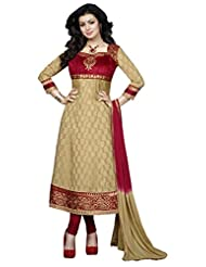 DivyaEmporio Women Cotton Resham Anarkali Unstitched Dress Material