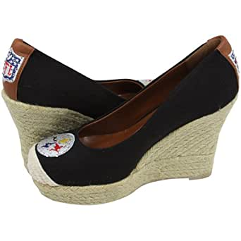 NFL Cuce Shoes Pittsburgh Steelers Ladies The Groupie Espadrille Wedge Sandals - Black (7 1/2)